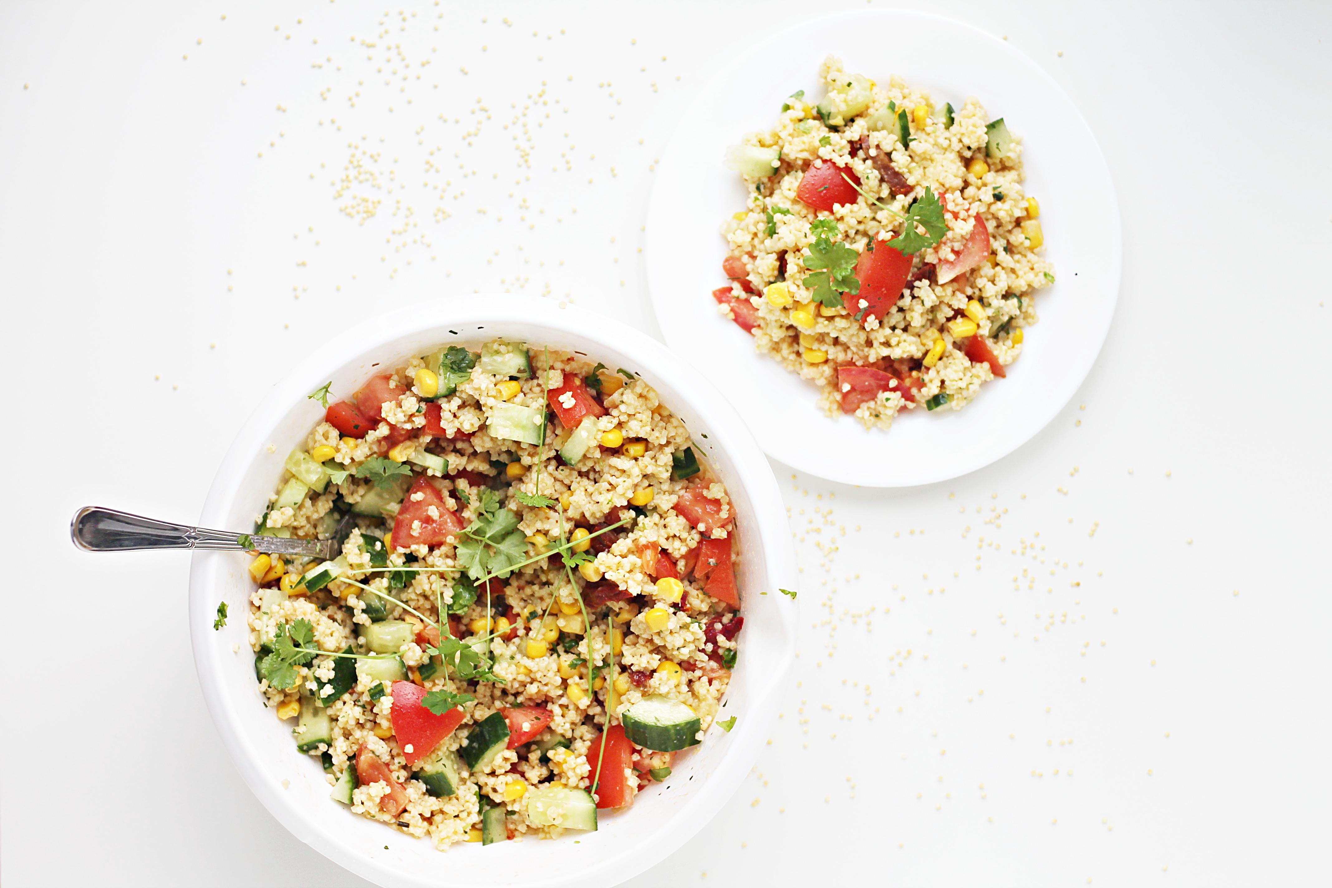 Schneller Hirsesalat mit frischem Gemüse